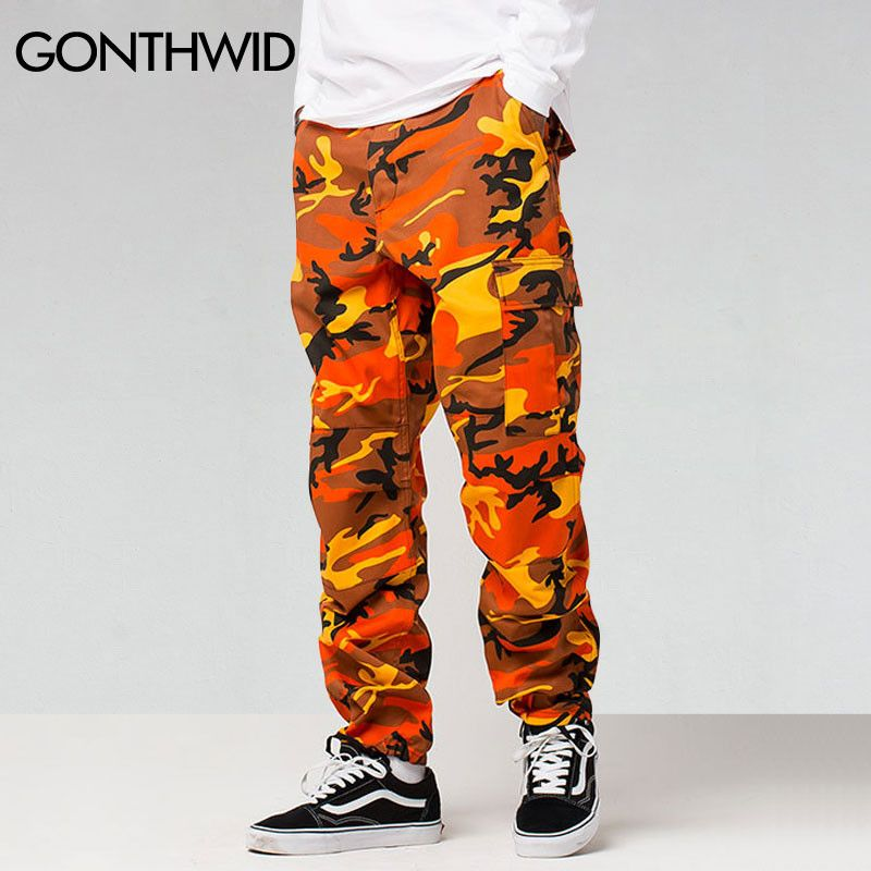 1f6c21e6 Color Cargo Pants Men Fashion Baggy Tactical Trouser Hip Hop Casual Cotton  Multi Pockets Pants Streetwear
