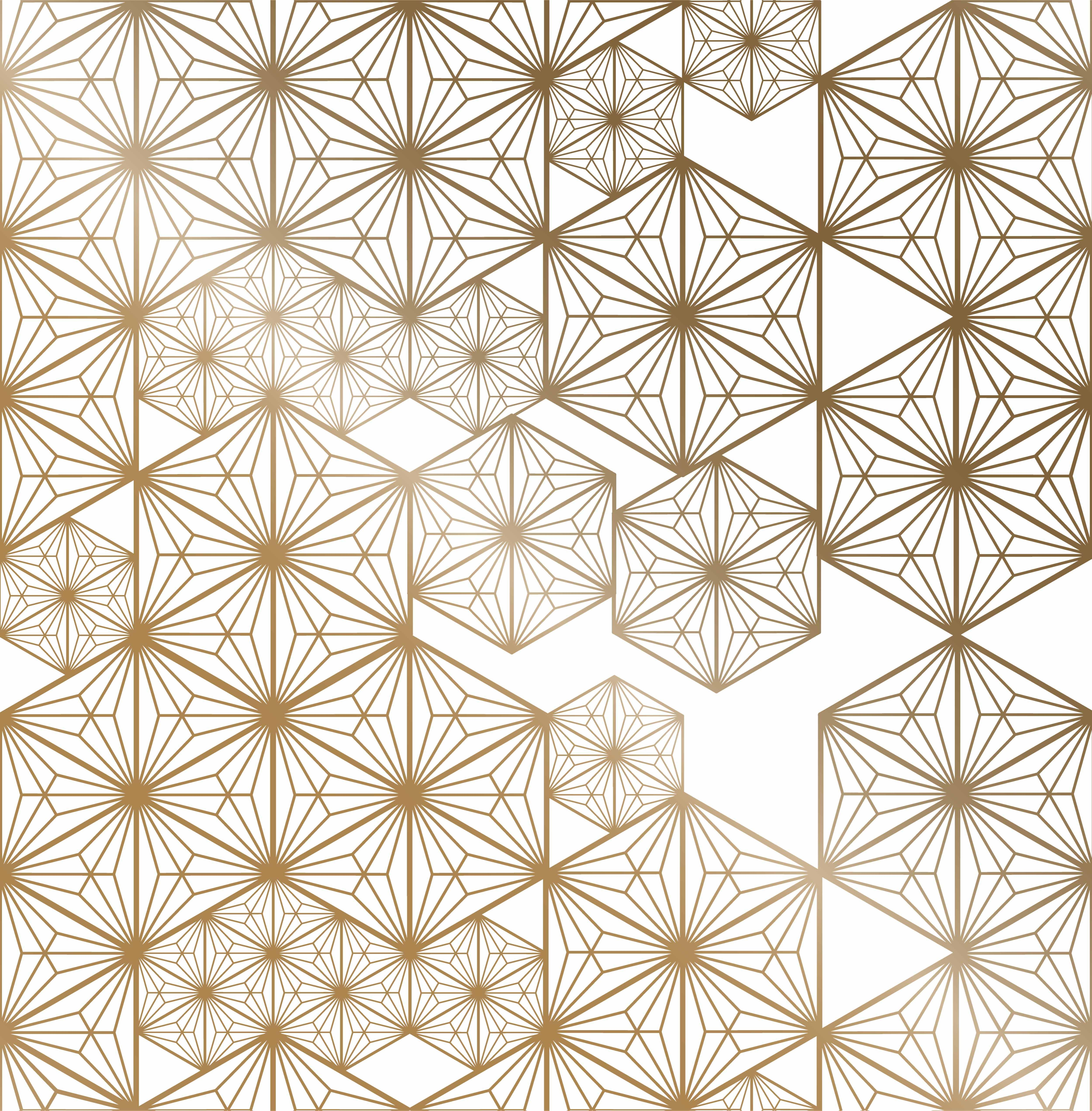 Japanese pattern vector Gold oriental geometric background