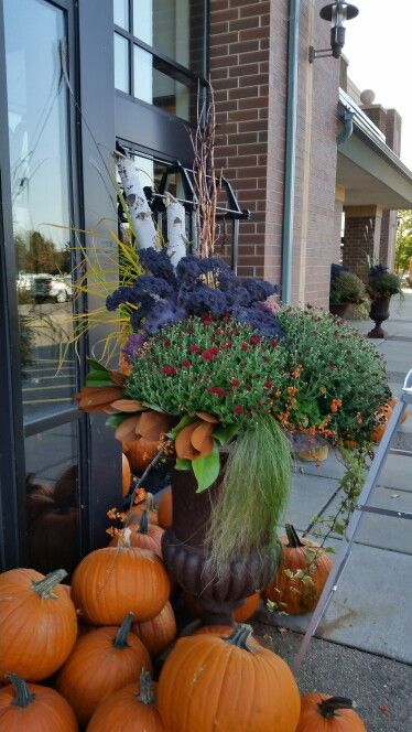 Fall container outside grocer (Kowalski's)