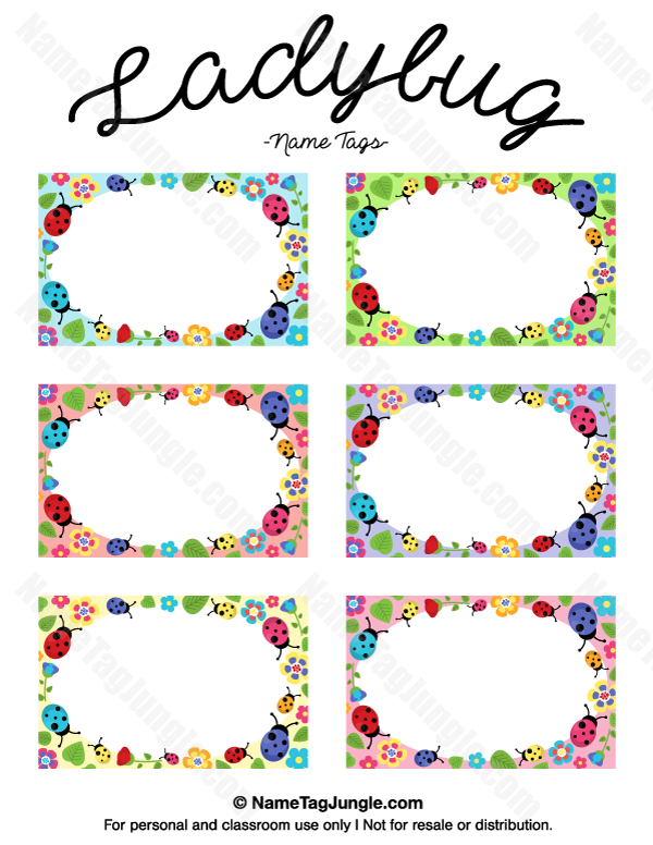 Free printable ladybug name tags the template can also be used for creating items like labels for Name tag template free printable
