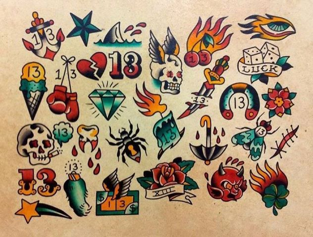 Friday The 13 Traditional Flash Tattoos Tatto Pinterest