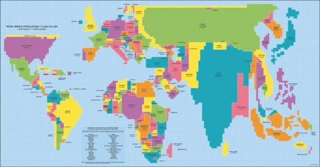 World map with country sizes adjusted to reflect population size - best of world map true country size