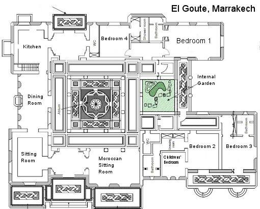 Floor plan 1 el goute marrakech morocco jardin for Moroccan house plans