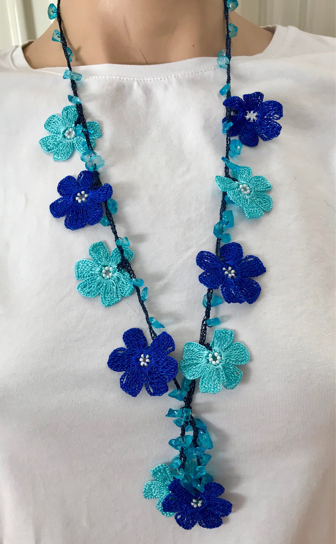 Short Crochet Necklace, Beaded Crochet Hair Piece, Blue Boho Seed Bead Bracelet, Vintage Style Crochet Lariat, Anatolian Washable Jewelry,