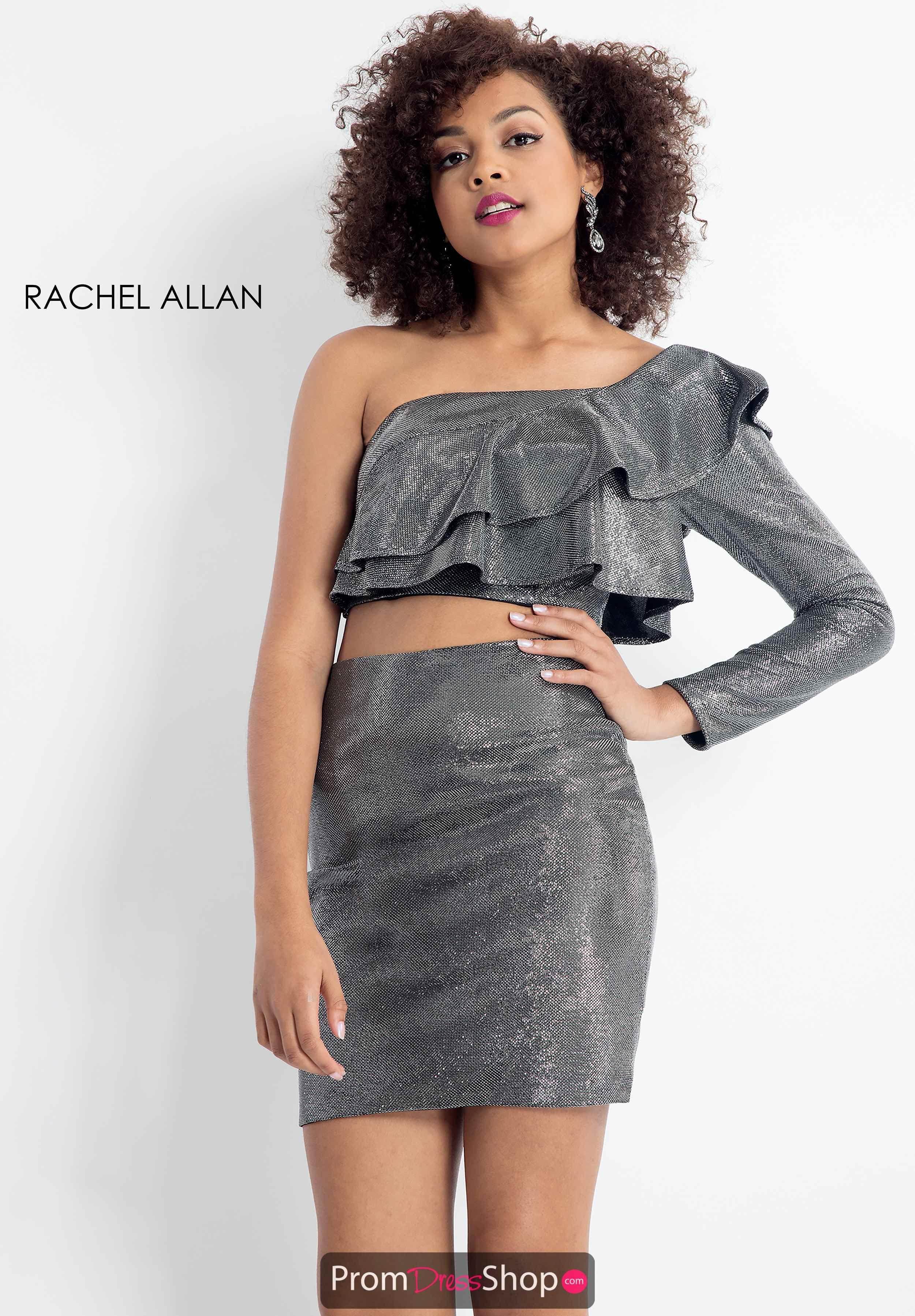 7dd9204942e Rachel Allan One Sleeve Ruffle Dress 4618 in 2019