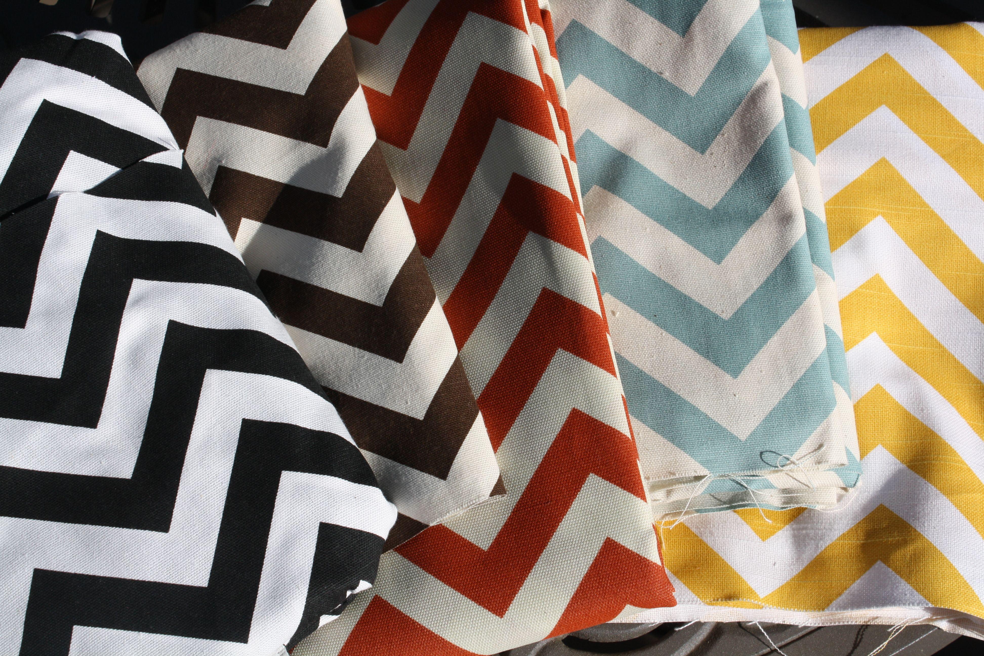 Simple chevron fabric choices. Black, brown, orange, powder blue ...