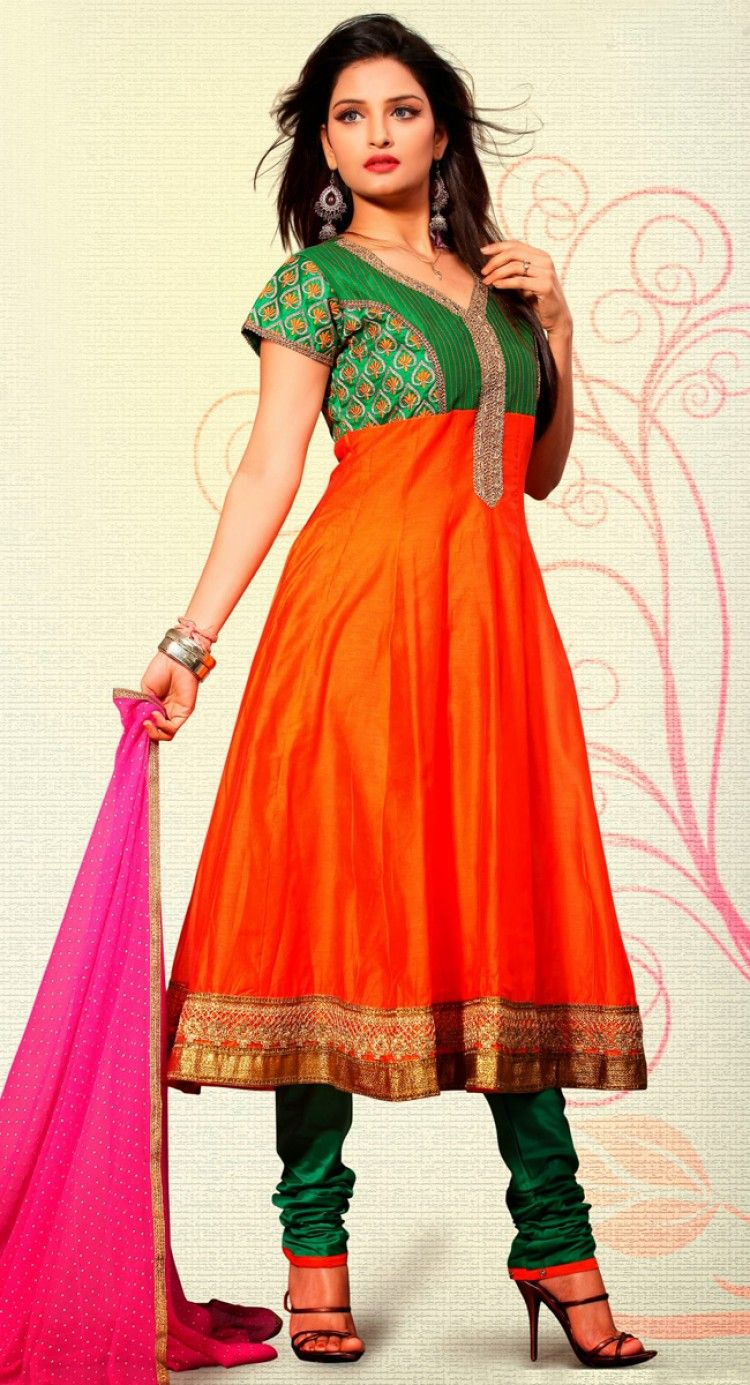 Comfortable Deep Orange And Green Color Readymade #Salwar #Kameez