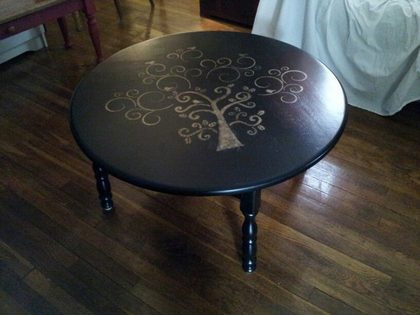 Stenciled Gold Tree On Satan Black Round Coffee Table This Is Exactly What I Was Thinking