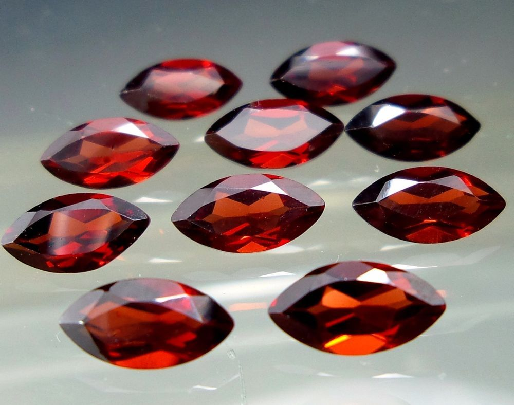 7.5 Crt Calibrated 4x8 MM Natural Mozambique Red Garnet Marquise Shape 10 Pieces #Unbranded