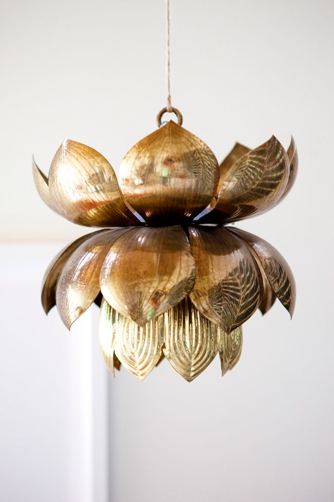 Gold Lotus Flower Pendant Lamp Lighting Lotus Lamp Bohemian House Lighting