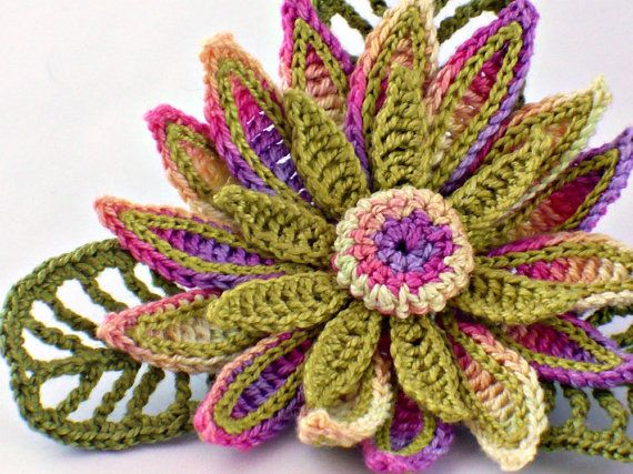 Crochet Brooch Irish Crochet Daisy Pin Yellow Green Fushia Purple