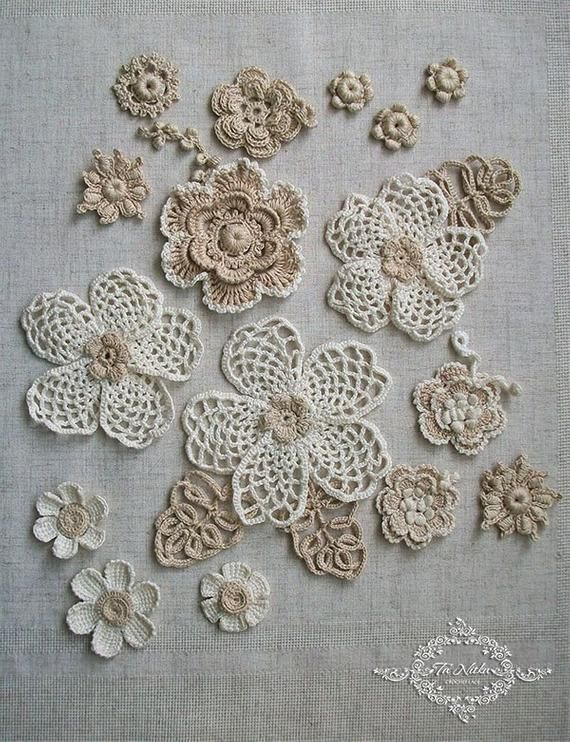 Irish Crochet Flowers, Dress applique, 20 pc. Ivory lace handmade, trim for clothes, cotton. Craft supplies, Flower set, Kit