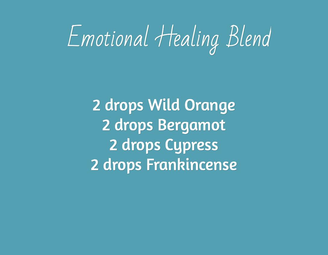 Emotional Healing Blend  / 2 drops Wild Orange 2 drops Bergamot 2 drops Cypress 2 drops Frankincense