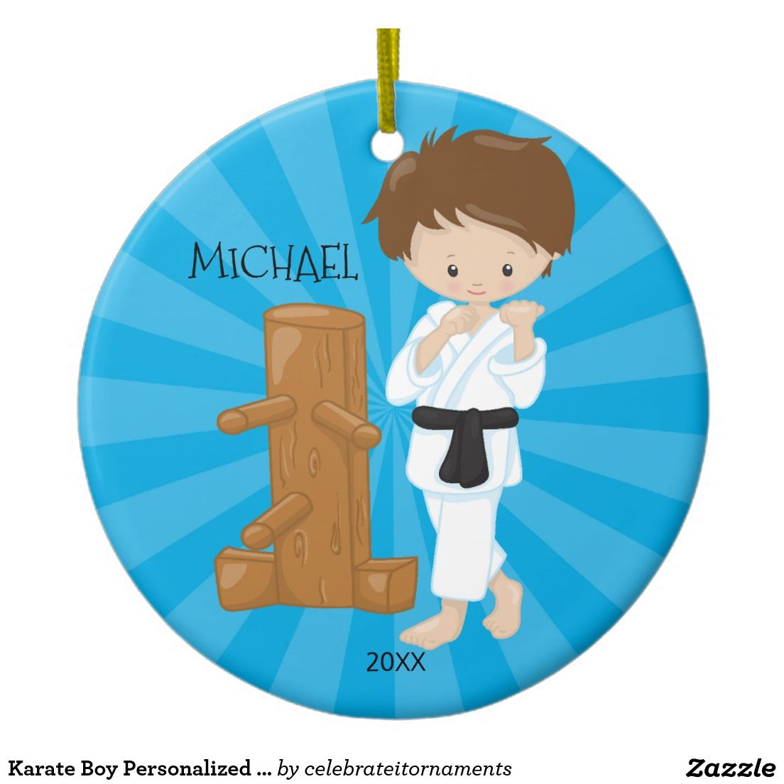 Karate ornament - Karate Boy Personalized Christmas Ornament