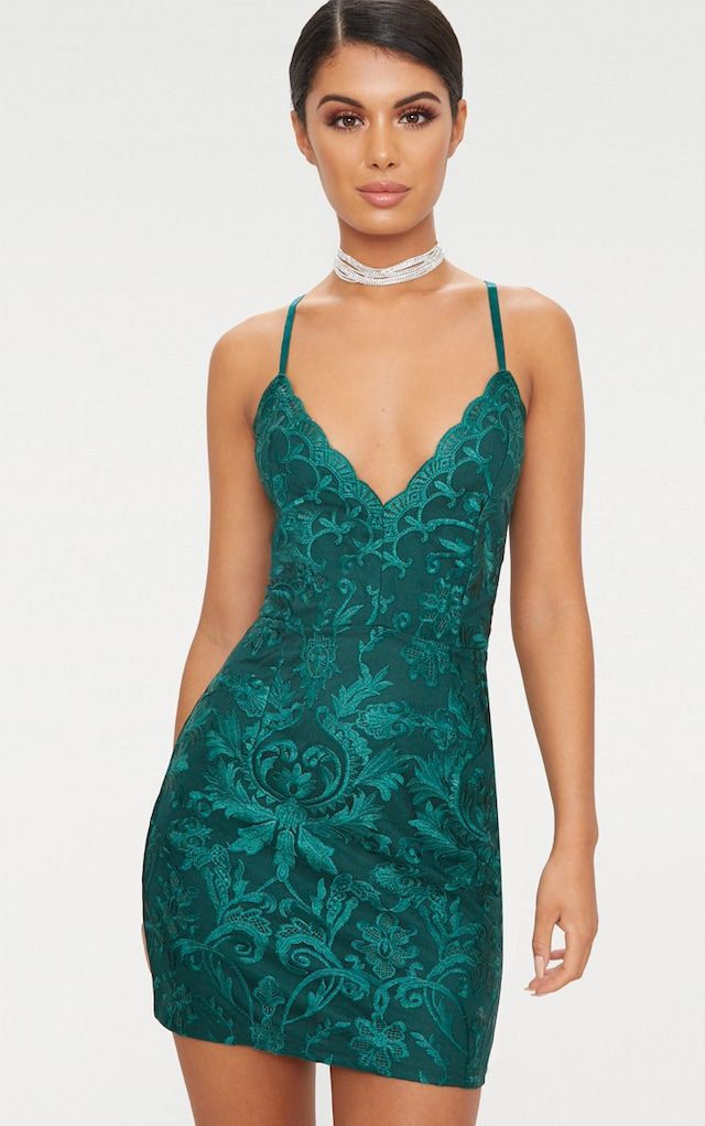 Emerald Green Embroidered Lace Detail Plunge Bodycon Dress