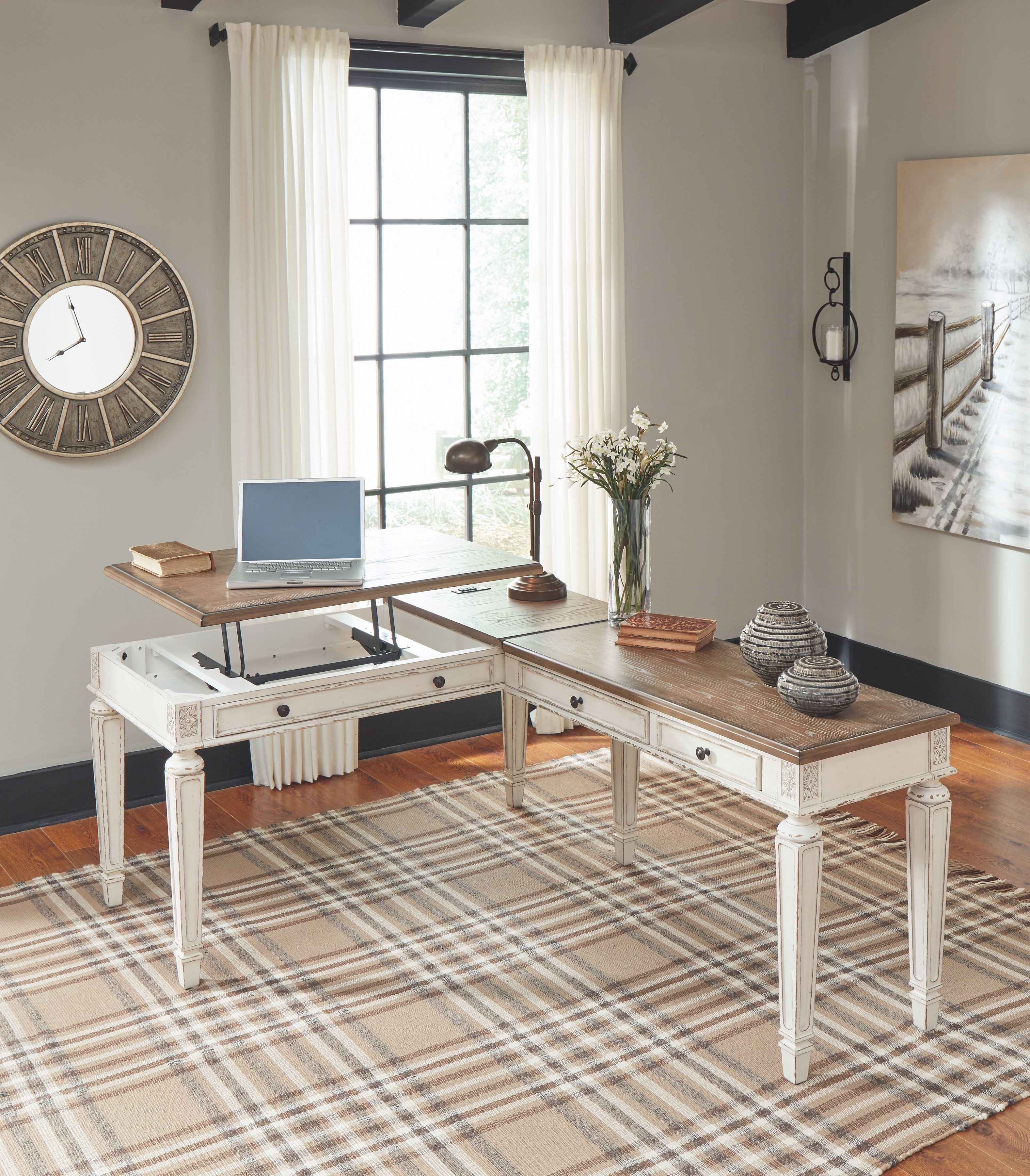 Realyn Home Office Lift Top Desk Ashley Furniture Homestore In 2021 Home Home Office Design Home Office Space