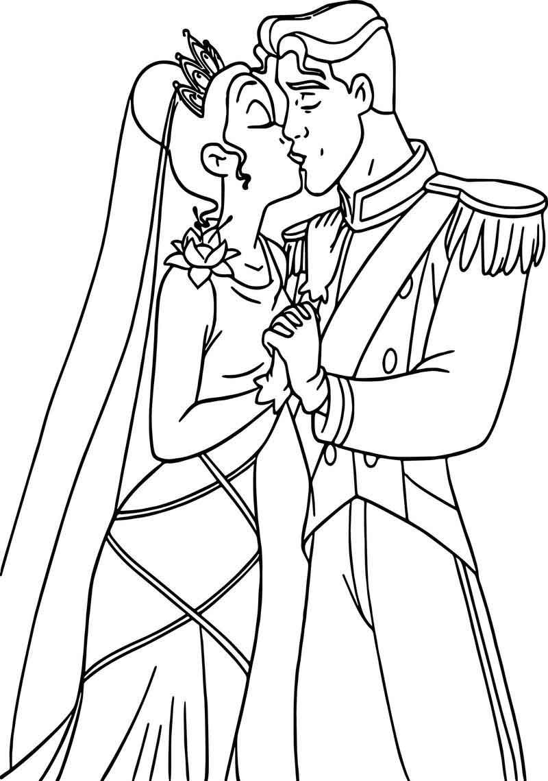 Tiana Naveen Wedding Kiss Coloring Page Cartoon Coloring Pages Bear Coloring Pages Princess Coloring Pages