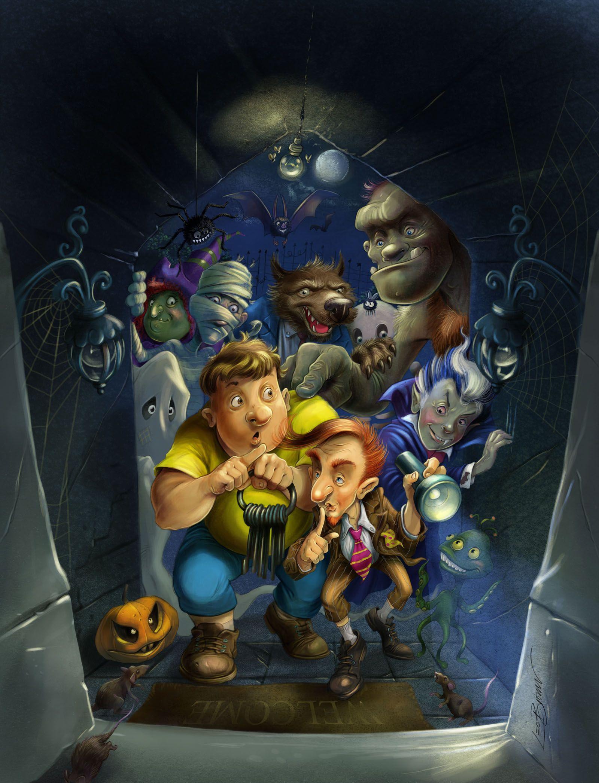 halloween the haunted house traditionally drawn digitally coloured illustration spooky digital