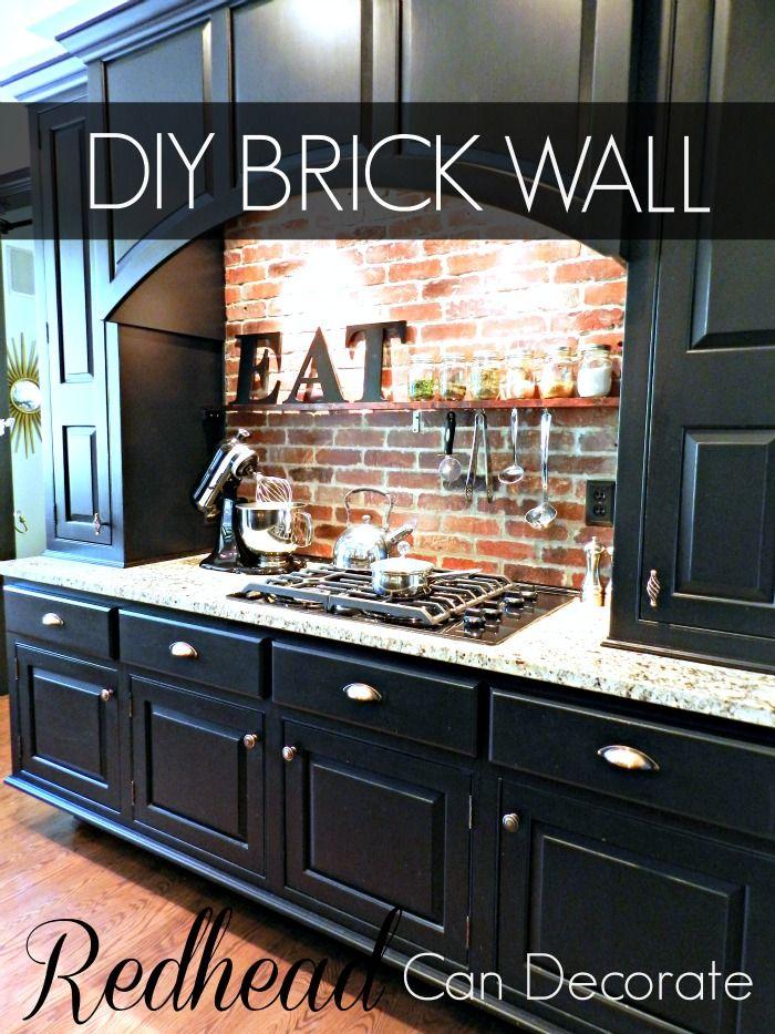 DIY Brick Backsplash Kitchen Pinterest Home, Kitchen and House