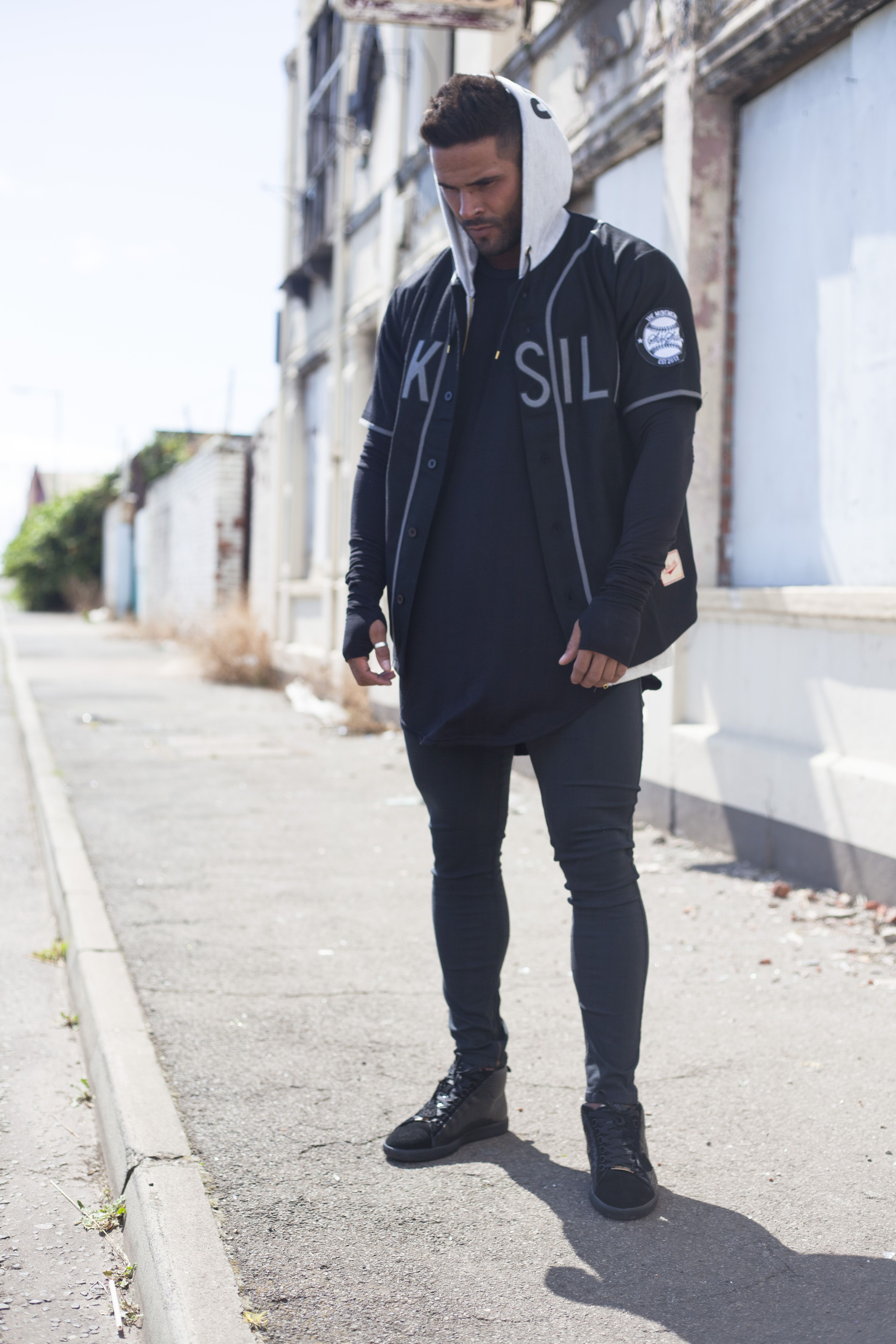 ... Adidas Yeezy 950 Season the latest purchase e7e7e bf9c2 AW 14 WOOL  BASEBALL JERSEY WITH SIKSILK SKINNY JEANS AND THE ...