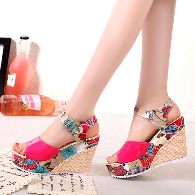 d été Femme Chaussures Décontractées plateforme Sandales compensée pour  femmes 2018 Floral 1w8nFq5Cv 61dc0b5c29a