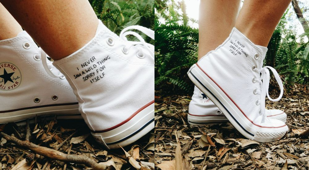 Embroidered Converse at thehalfwaypointblog.com #quote #embroidery #shoes
