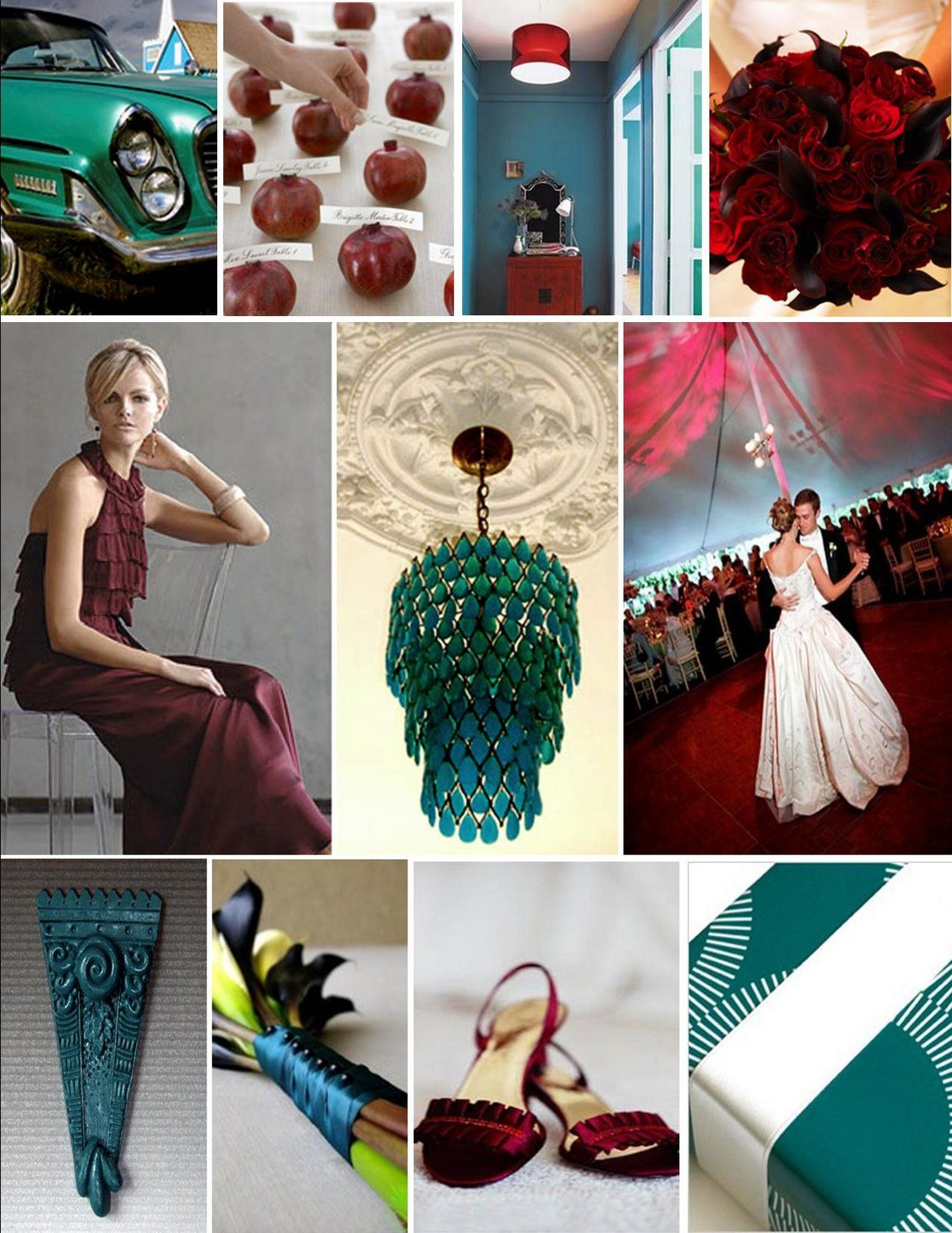 Mixing teal is a fabulous way to add interest to a red toned wedding