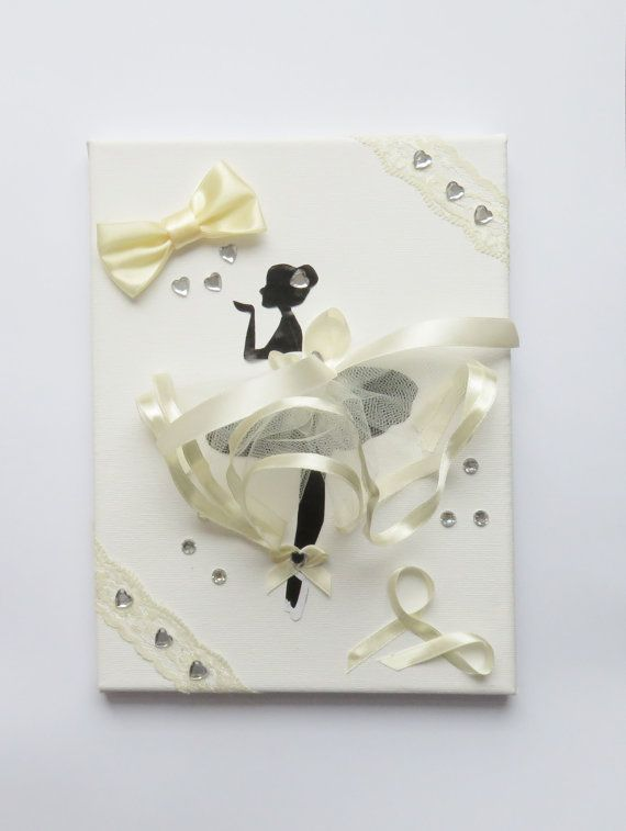 A beautiful picture on canvas of ballerina or girl ballet dancer in creamy beige ... with sparkly embellishments. Can be made in different colors or