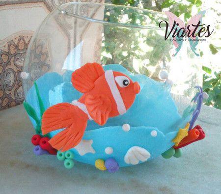 Centro de mesa aqu rio tema fundo do mar coisas para - Peceras pequenas decoradas ...