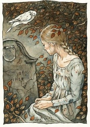 Cinderella at her mother's grave