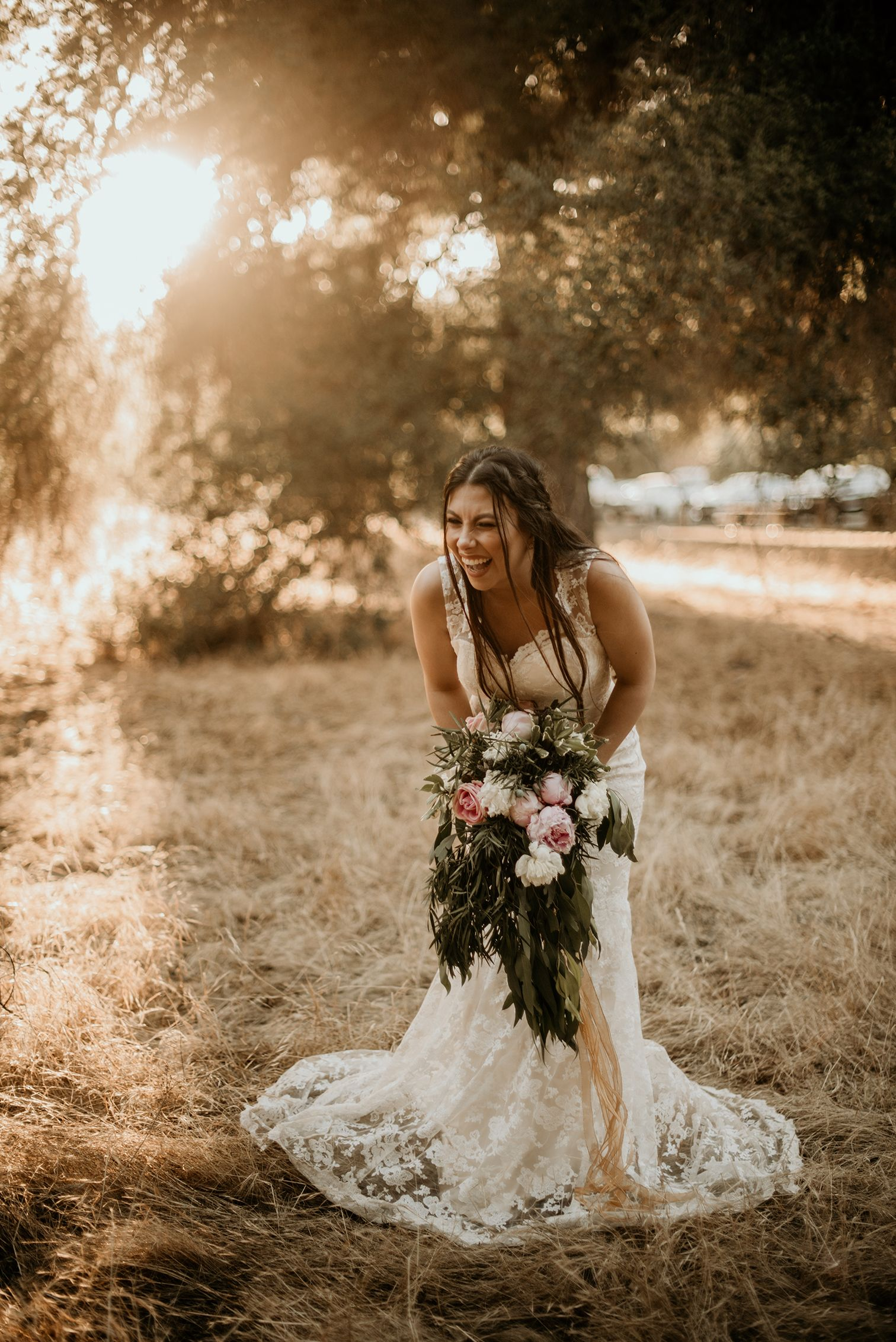 A southern california outdoor wedding during sunset the bride