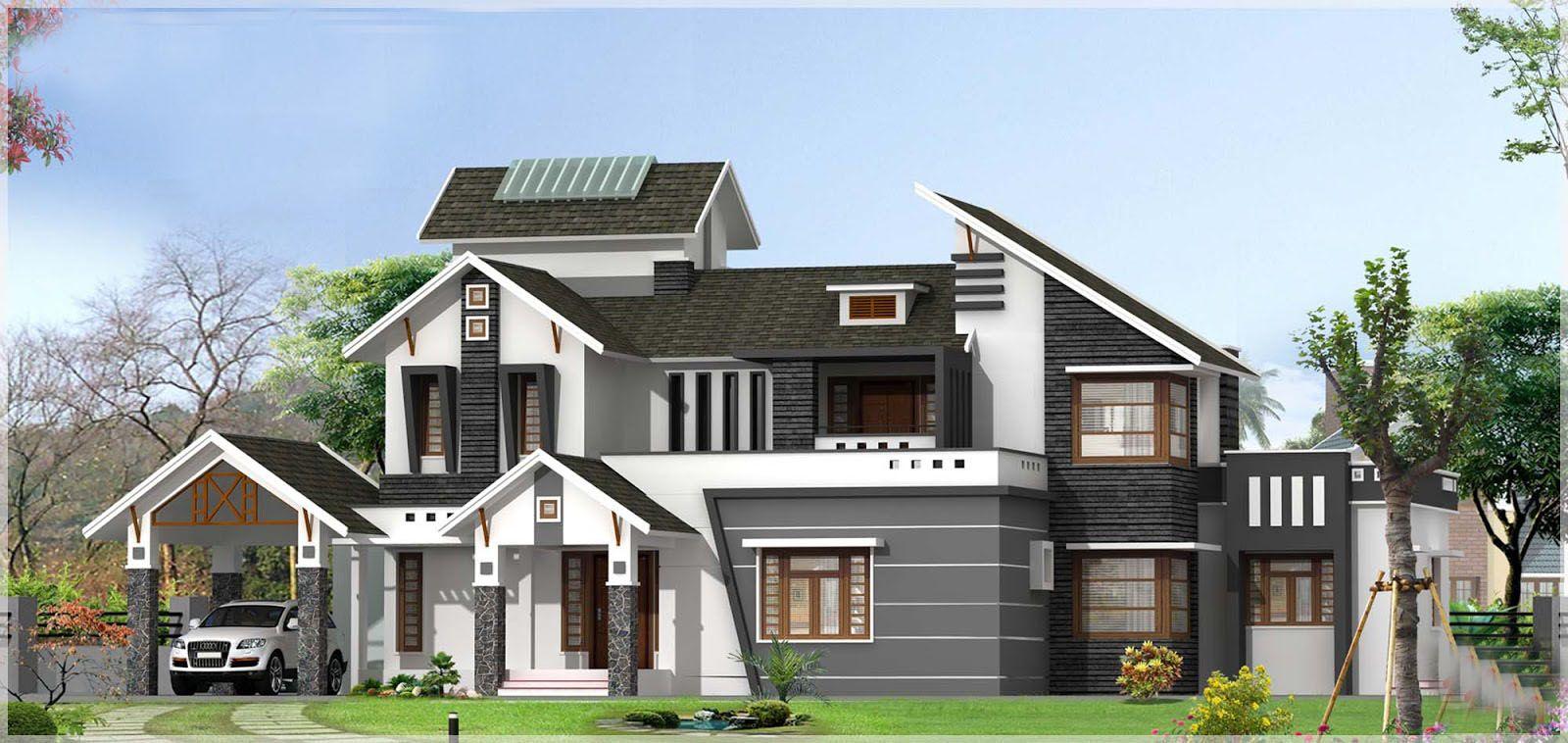 Sloping Roof Kerala house design at 3136 sqft with Pergolas