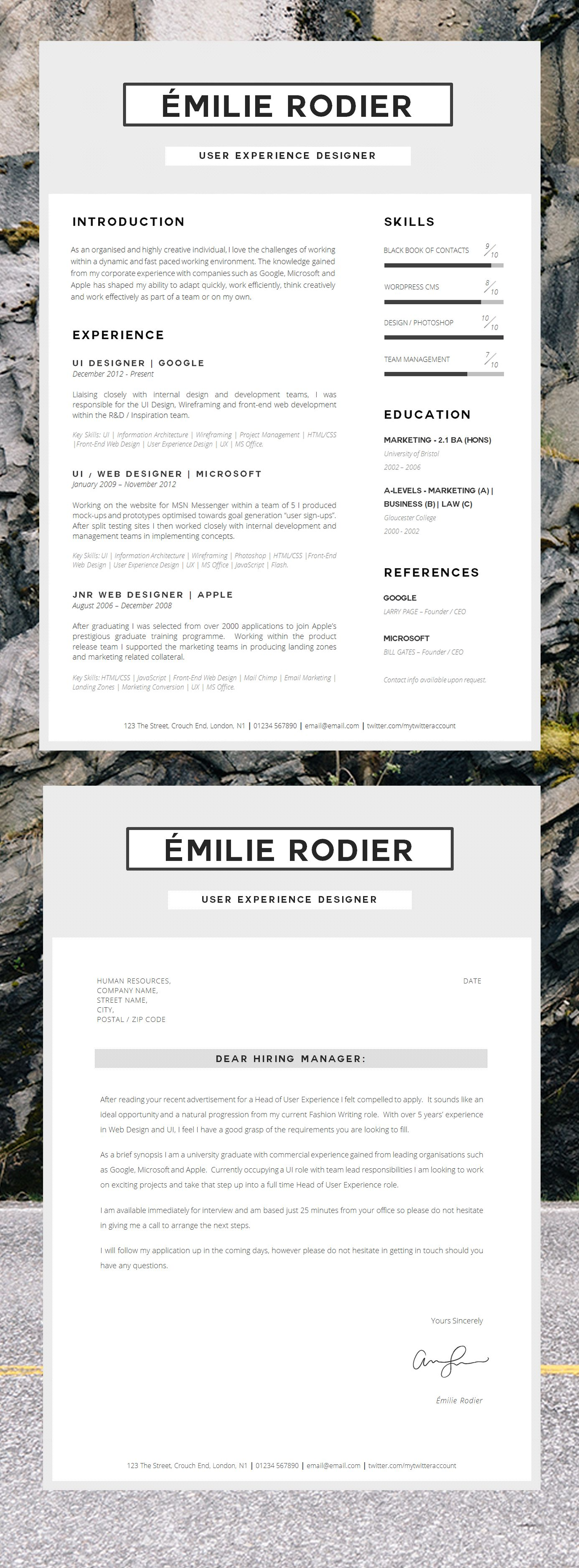 Emile Rodier Simple Sleek Creative Cv Inspiration