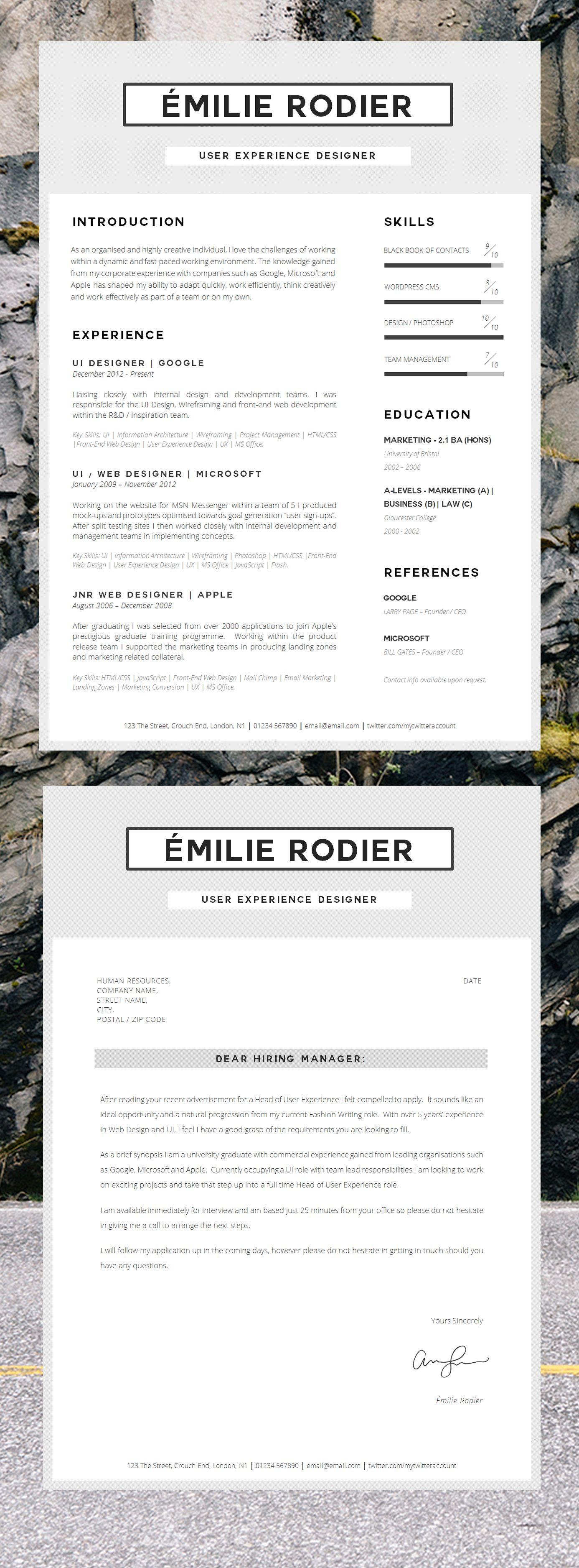 Basic Resume Template Minimal Cv Template Modern Resume Etsy Cv Template Resume Basic Resume
