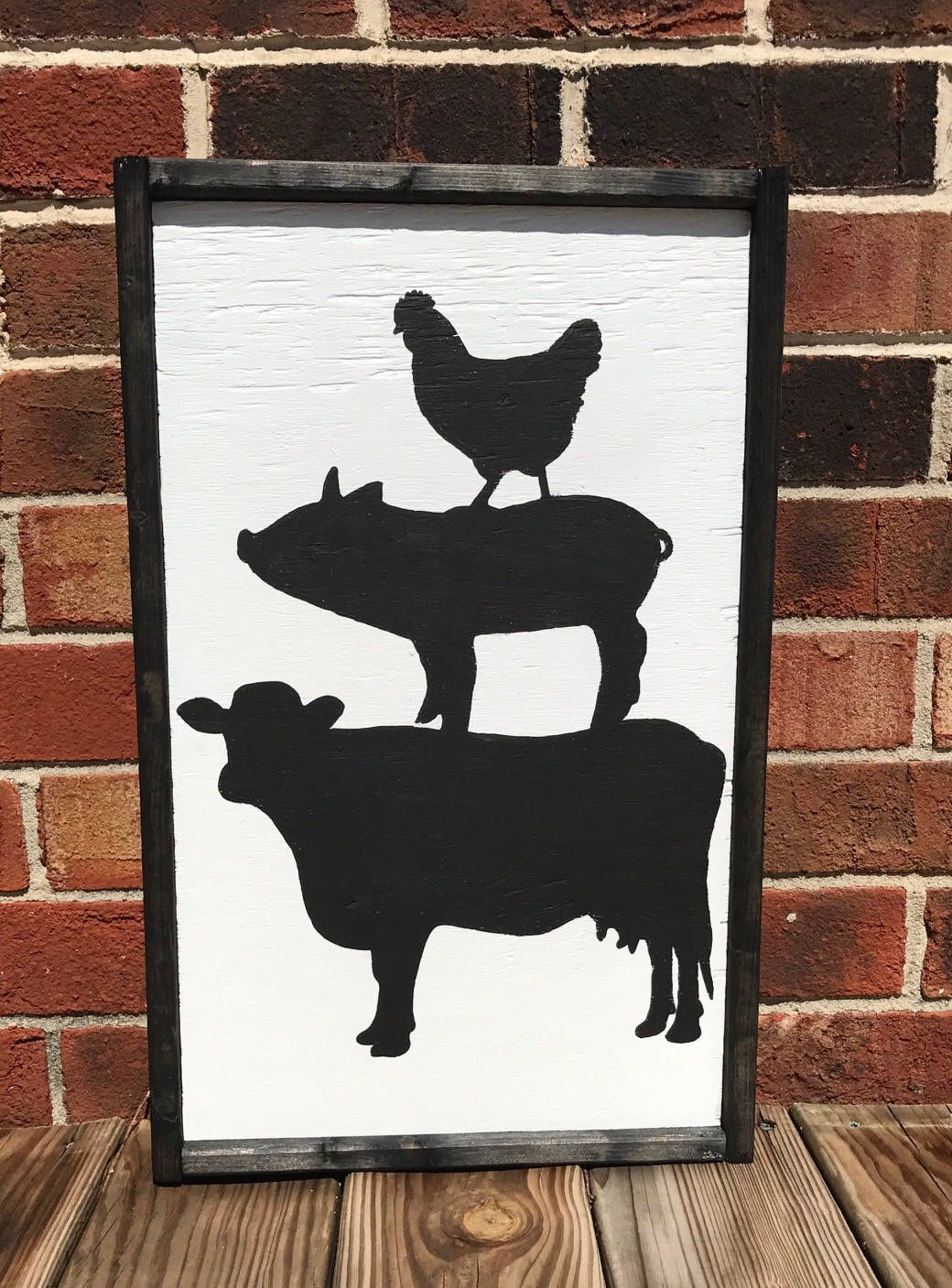 Animal stack sign, Farm stack sign, Pig sign, Cow sign, Chicken sign, farmhouse sign, farmhouse decor, kitchen signs, kitchen decor sign is part of Retro decor Signs - cRlLXv