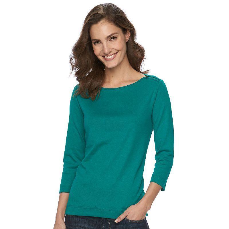 Women's Croft & Barrow® Embellished Boatneck Tee, Size: Medium, Med Green