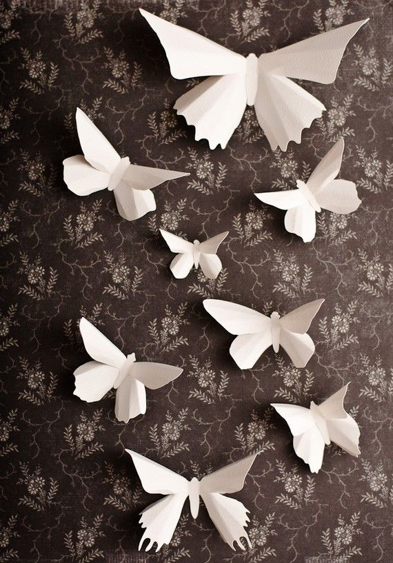 3D Butterfly Wall Art 10 Snow White Paper Butterfly Silhouettes