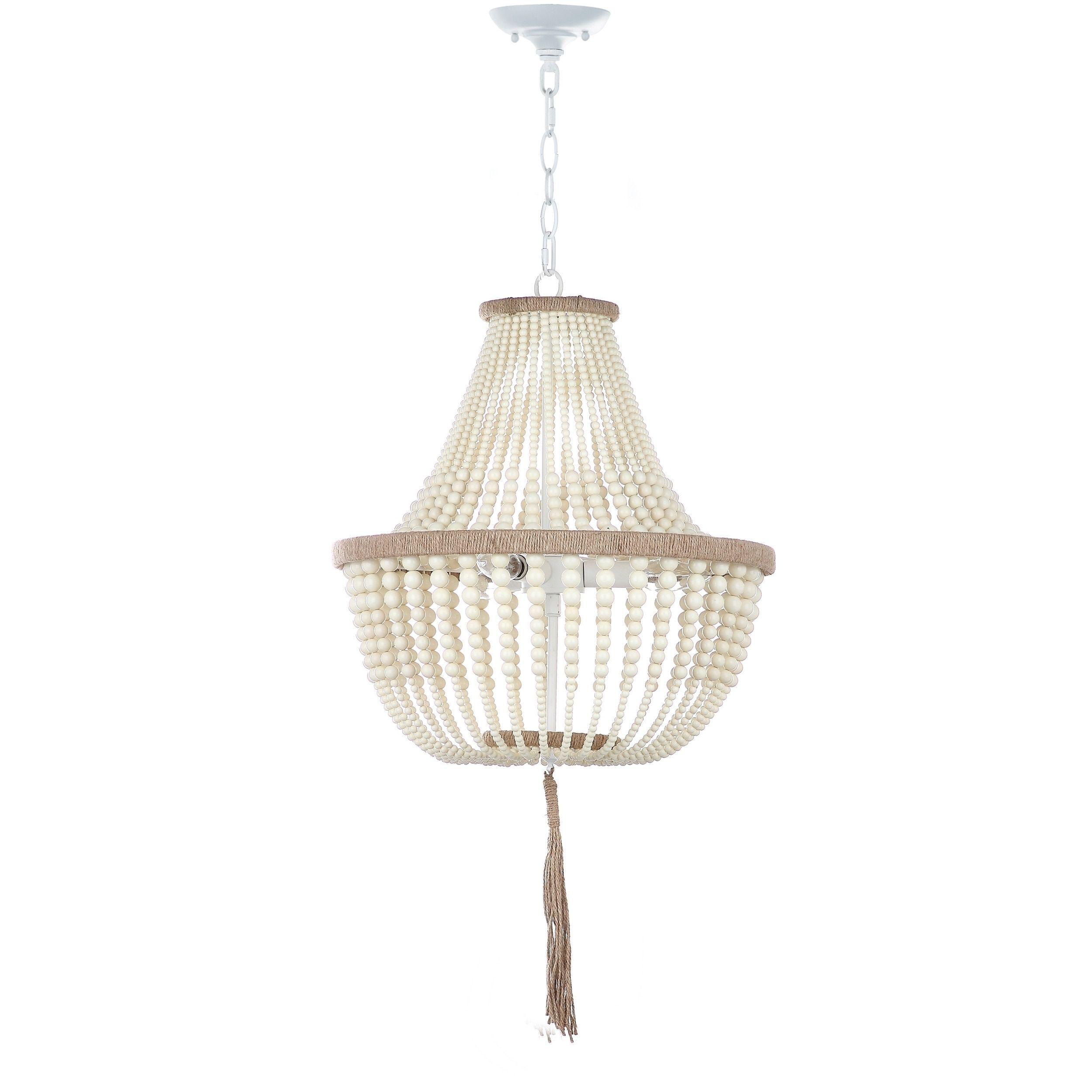Bathroom Light Fixtures Overstock safavieh lush kristi 3 light 16.5-inch dia cream beaded pendant