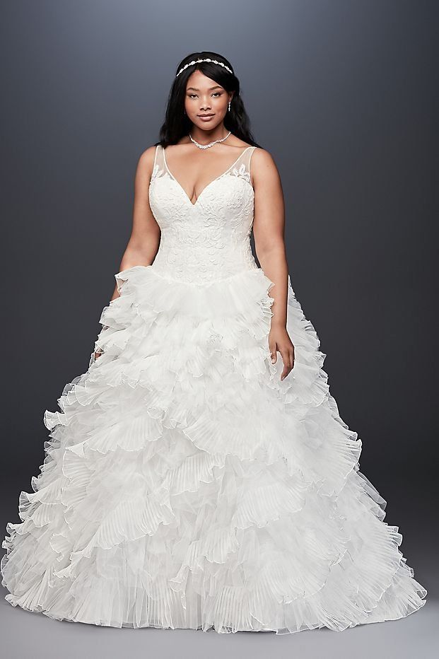 Plunging Plus Size Wedding Dress With Tiered Skirt David S Bridal Davids Bridal Wedding Dresses Dramatic Wedding Dress Wedding Dress Styles