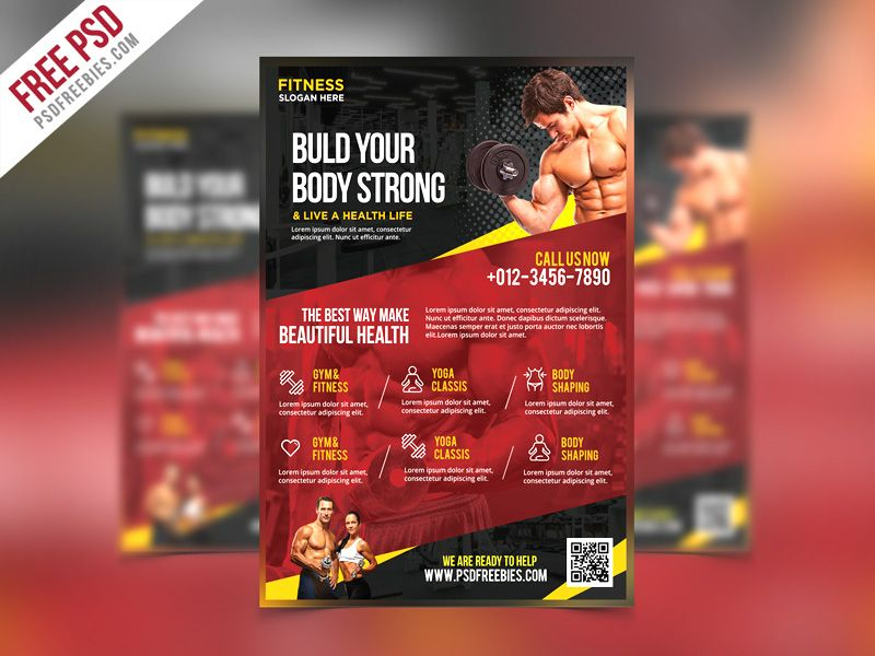 Free PSD  Fitness and Gym Flyer PSD Template Psd templates and - fitness brochure