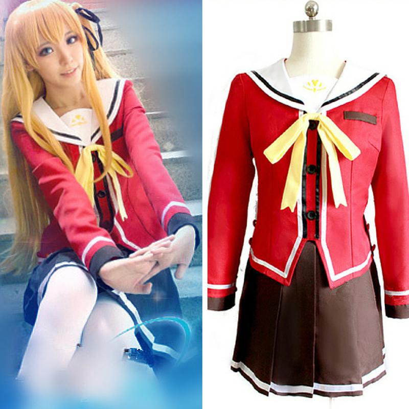 New Anime Charlotte Tomori Nao Top + Skirt + Bow Tie Yusa Nishimori School Uniform Cosplay Costumes Full Set Sailor Suit