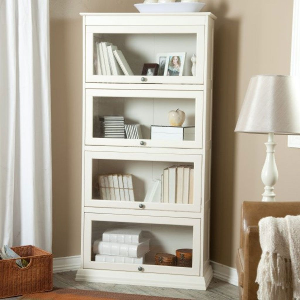 Cheap White Book Shelf With Doors : Glass Door Bookcase White