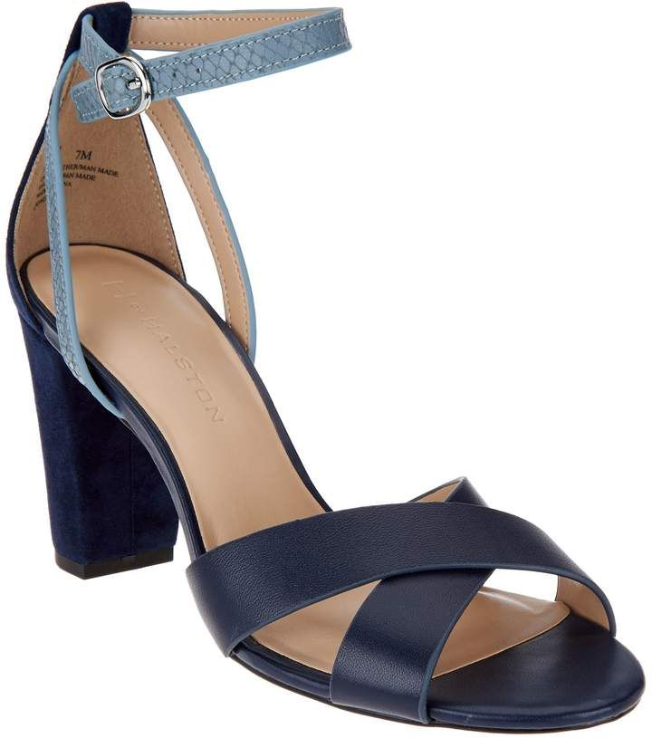 c524c127775d5e Halston H By H by Leather   Suede Strappy Block Heel Sandals - Kaelyn
