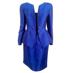 Vintage Thierry Mugler Electric Blue Skirt Suit