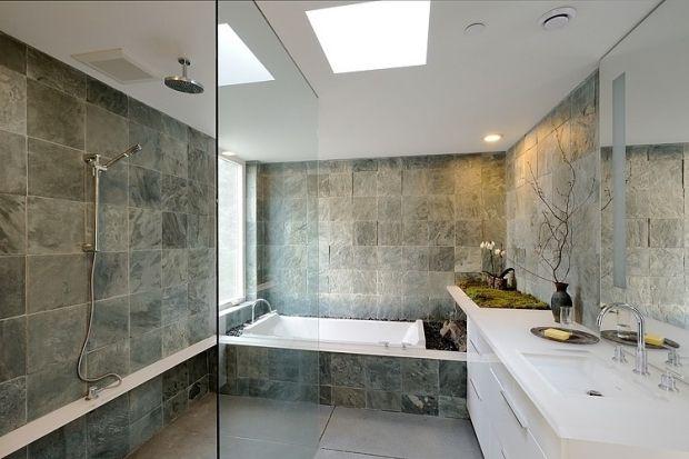 Zeitgenössisches Bad Design Wandverkleidung Fliesen Stein  Look Bad Begrünung Ideen