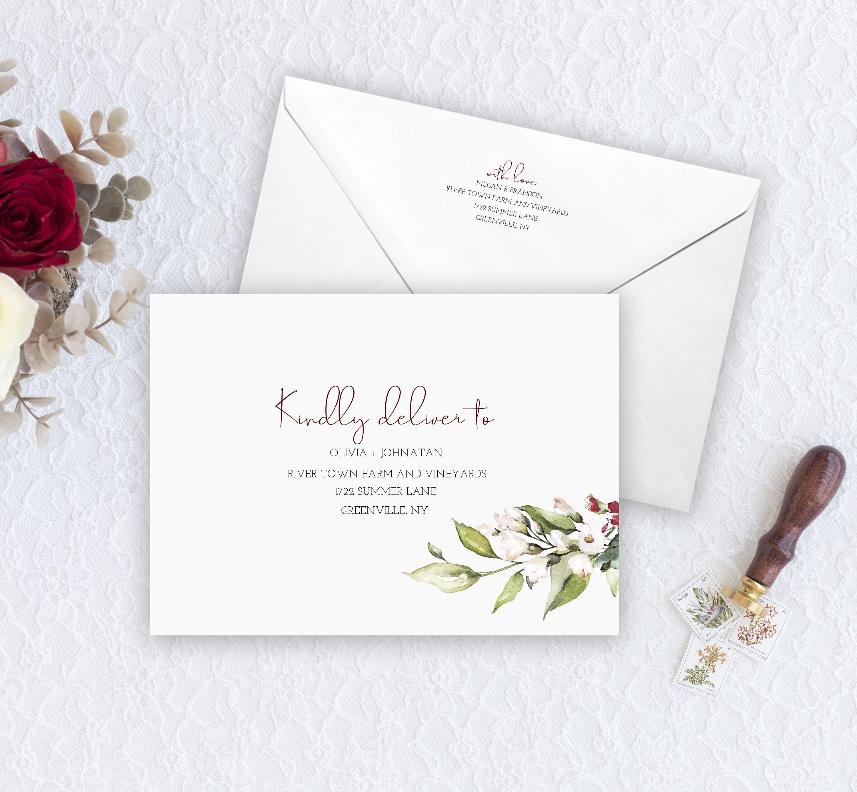 Editable Burgundy Personalized Bright Floral Envelope Template Etsy Floral Wedding Envelopes Wedding Envelopes Envelope Template