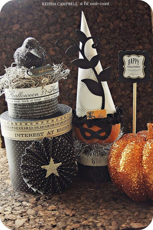 This is one stunning Halloween decoration for your home, restaurant or hotel! If you wish to have something similar, you could use our polystyrene / Styrofoam pumpkins, acrylic paint, glitter and plain carnival masks. More DIY ideas available at www.craftmill.co.uk