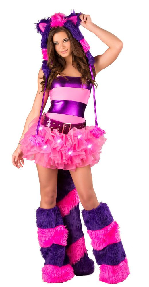 Sexy Adult Deluxe J Valentine Light-Up Tutu Cheshire Cat Rave Halloween Costume #JValentine