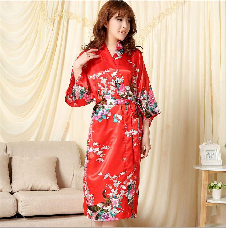 2016 NEW Summer Style Chinese Women\'s Silk Rayon Robe Kimono Bath ...