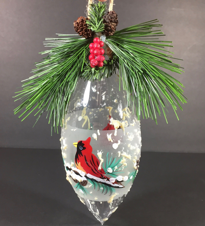 Sale Cardinal Christmas Tree Ornament Hand Painted Blown Glass Large Tear Drop Cardinals Textur Christmas Tree Ornaments Hand Painted Ornaments Christmas Bulbs